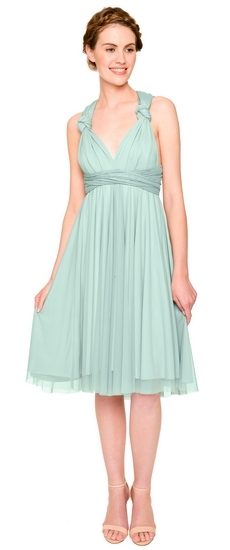 Twobirds Bridesmaid Tulle Knotted Tank Short Straight in Seafoam
