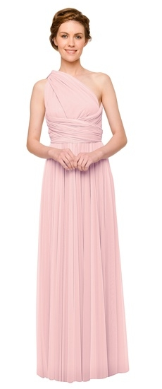 Twobirds Bridesmaid Tulle One Shoulder Ballgown in Petal