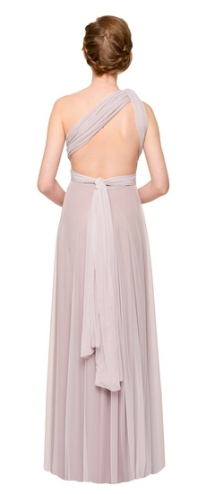 Back of Twobirds Bridesmaid Tulle One Shoulder Flat Back Ballgown in Lilac