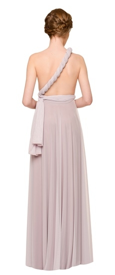 Back of Twobirds Bridesmaid Tulle One Shoulder Twist Ballgown in Lilac