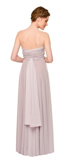 Back of Twobirds Bridesmaid Tulle Strapless Ballgown in Lilac