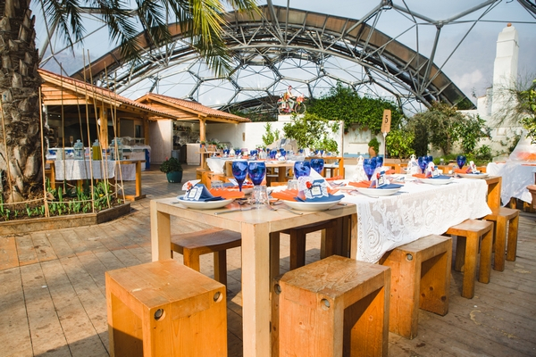 Wooden wedding tables at the Eden Project