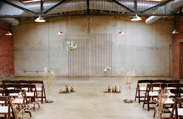 Industrial themed wedding ceremony room