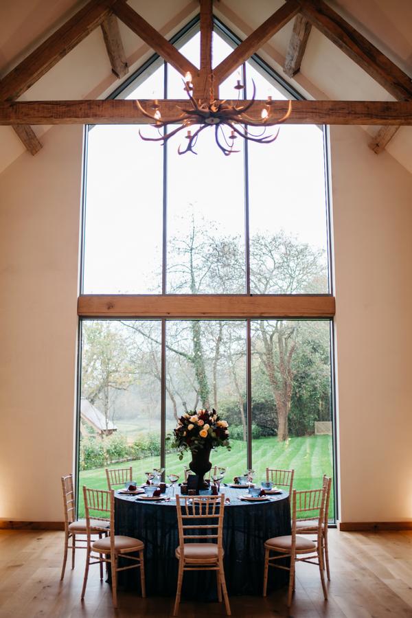 Wedding table by tall window