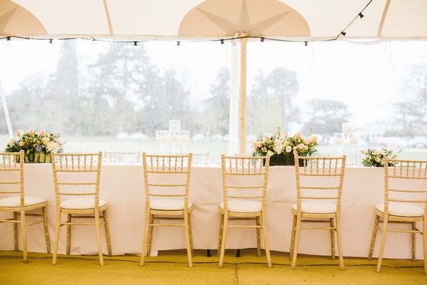 Chairs in front of long table