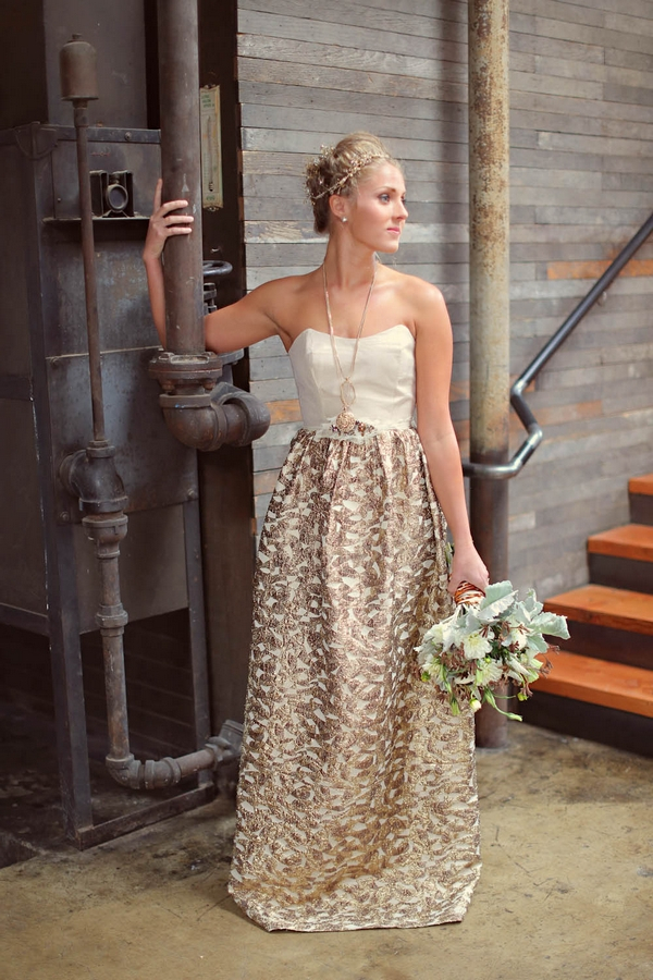 Bride with white and gold wedding dress