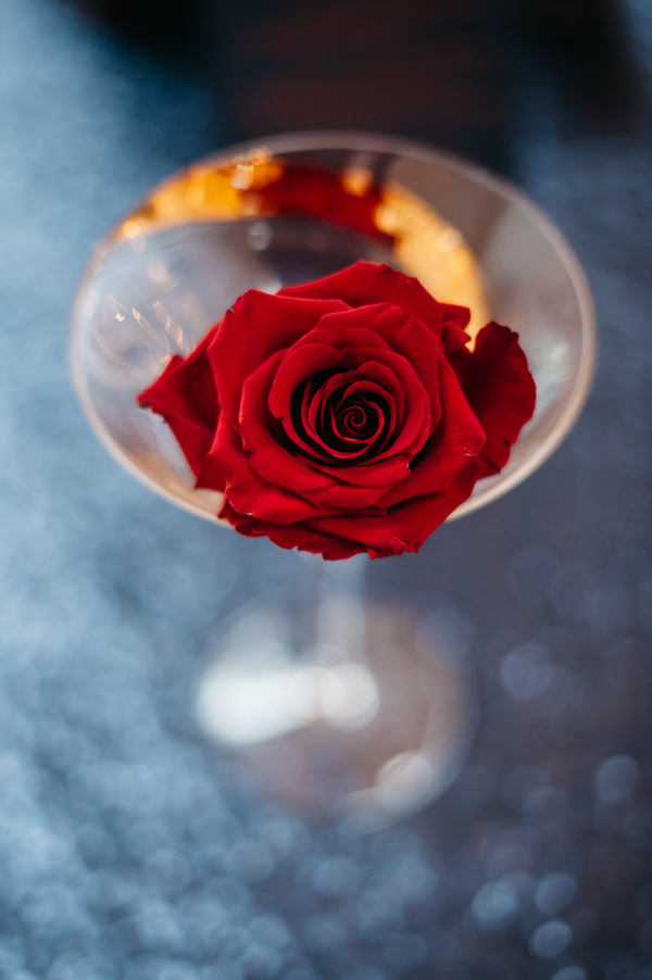 Red rose in cocktail glass