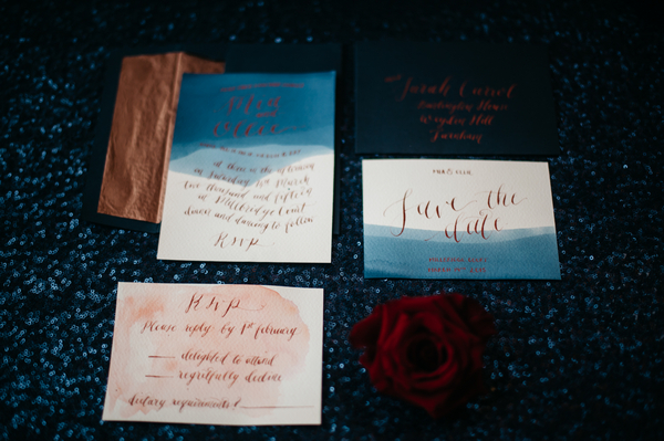 Blue watercolour wedding stationery