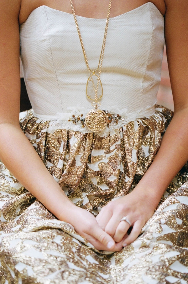 Detail on bride's gold wedding dress