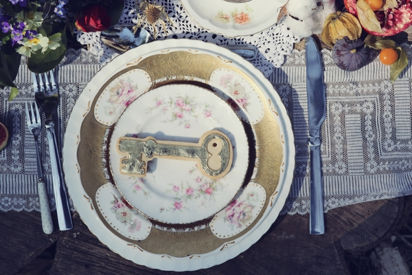 Key shaped biscuit on plate