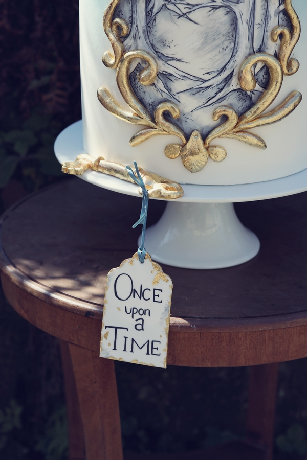Once Upon a Time tag on fairytale wedding cake