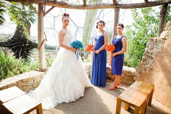 Bride and bridesmaids in blue dresses