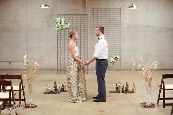 Industrial style wedding ceremony