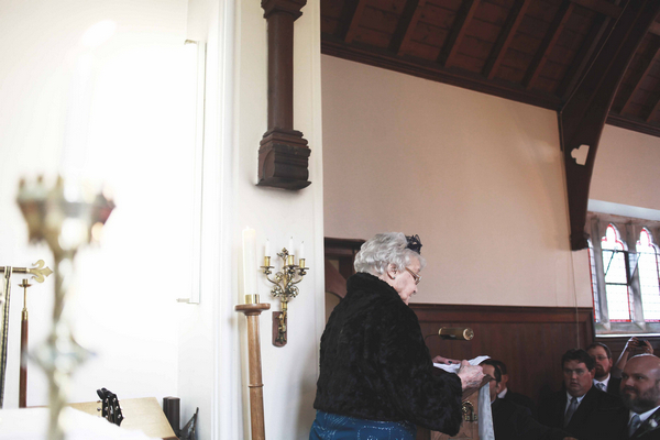 Elderly lady giving wedding reading