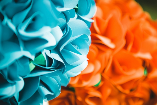 Blue and orange paper bouquets