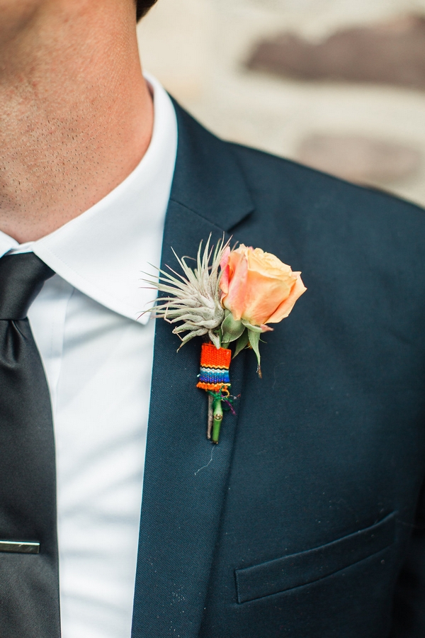 Groom's colourful buttonhole