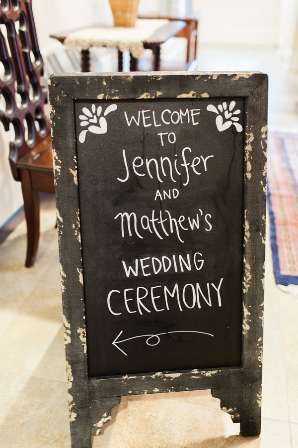 Wedding ceremony sign on chalkboard