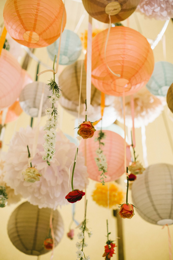 Globe lanterns with hanging flowers
