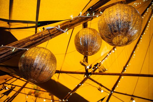 Silver hanging globe lanterns