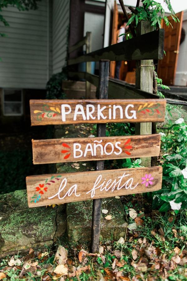 Spanish fiesta parking sign