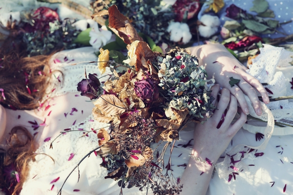 Bouquet on bride's chest