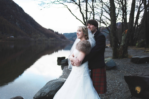 Bride and groom by Loch