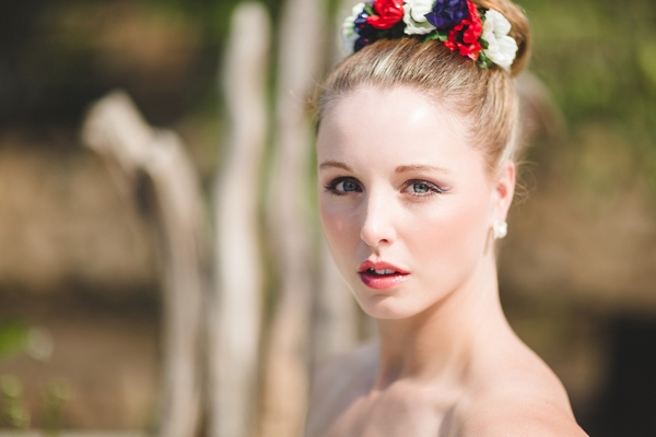 Bride with red, white and blue flower crown