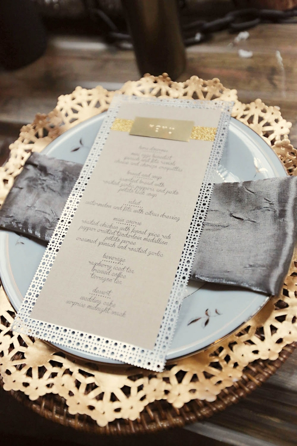 Industrial themed wedding menu