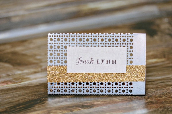 Industrial themed wedding name card