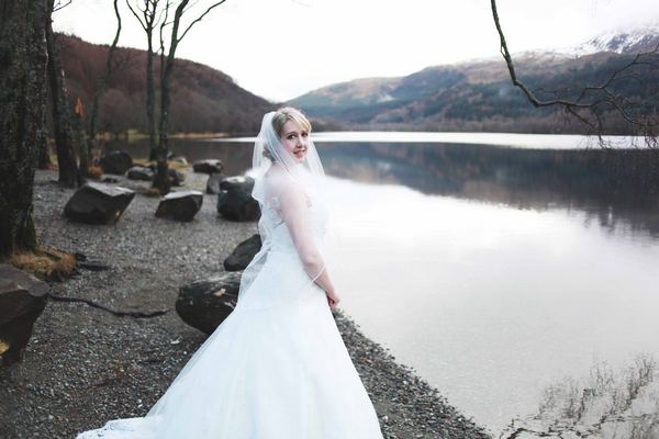 Bride in front of loch