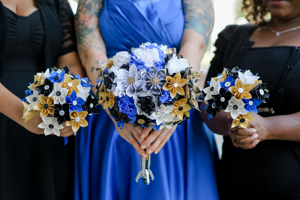 Bride and bridesmaids' paper bouquets