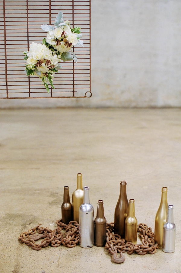 Gold and silver bottle wedding decorations