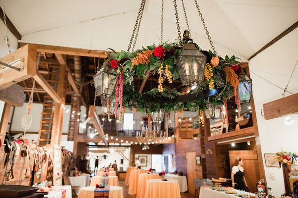 Large hanging foliage arrangement in wedding venue
