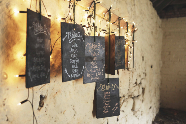 Hanging chalkboard table plan