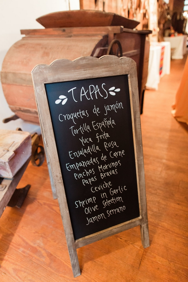 Tapas menu on chalkboard