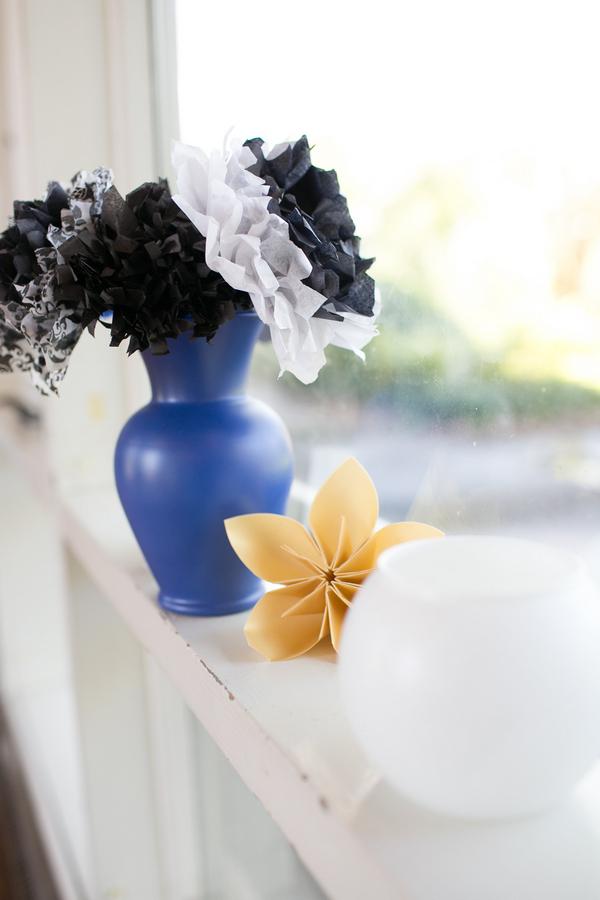 Flowers on window ledge