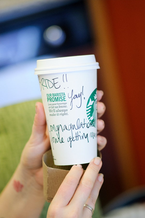 Starbucks cup with message to bride