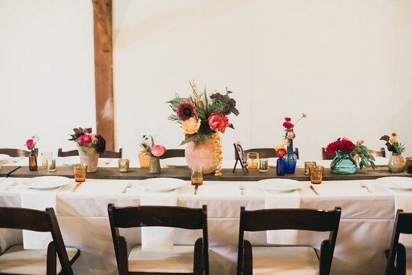 Long wedding table with flowers