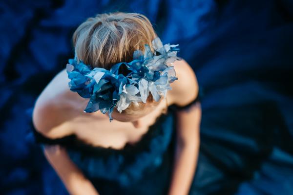 Bride's blue headpiece