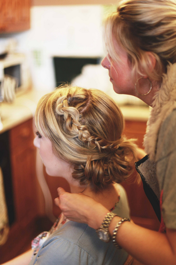 Bridal updo with plaits