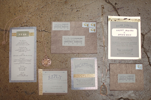 Industrial style wedding stationery