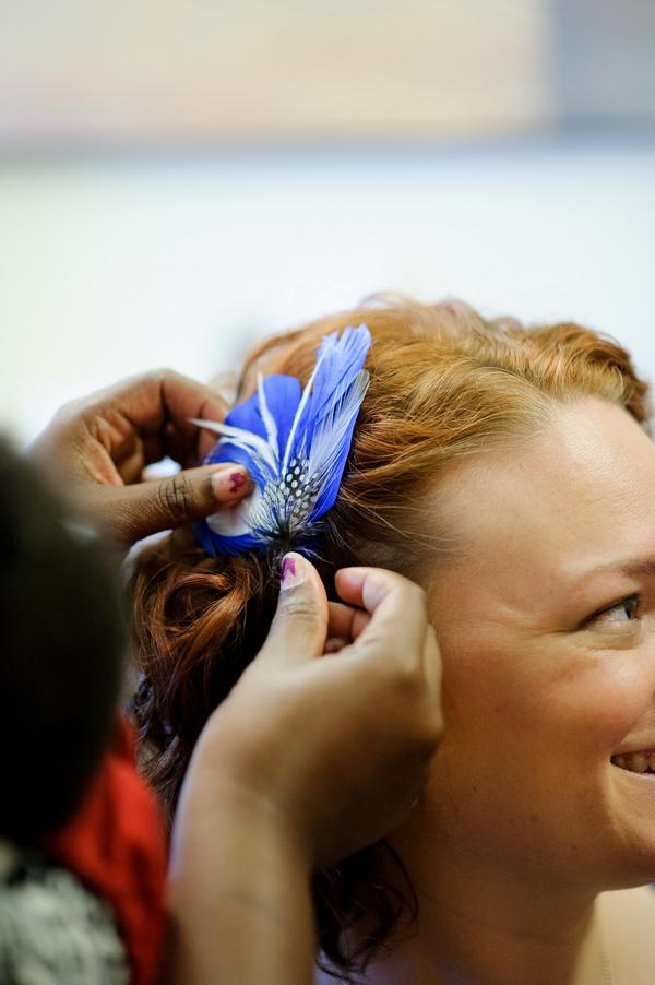 Bride's blue hairpiece