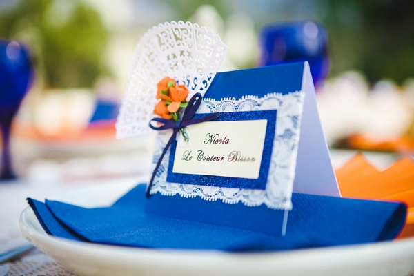 Blue wedding place name with lace detail
