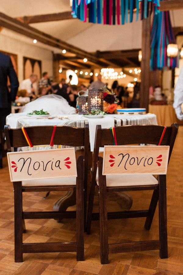 Signs on back of bride and groom's chairs