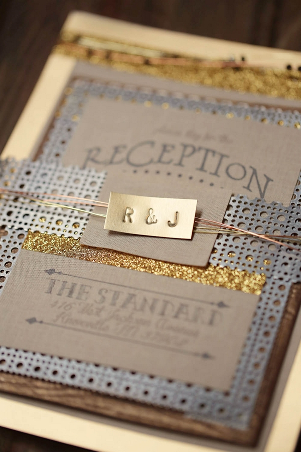 Wedding stationery with metal detail