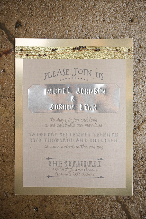Wedding invitation with metal detail