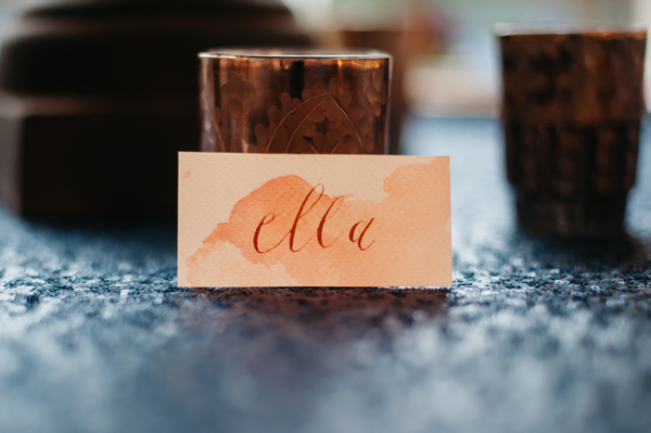Watercolour wedding name tag