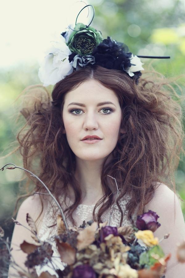 Bride wearing floral headpiece