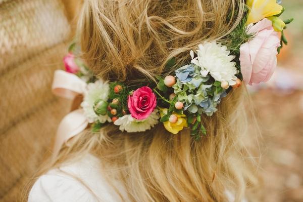 Side of boho bride's flower crown