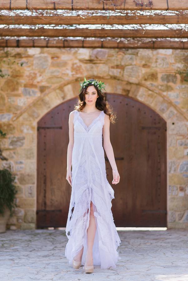 Bride in long wedding dress